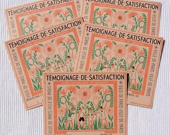 Pack of 5 Genuine Unused Vintage French School Merit Certificates