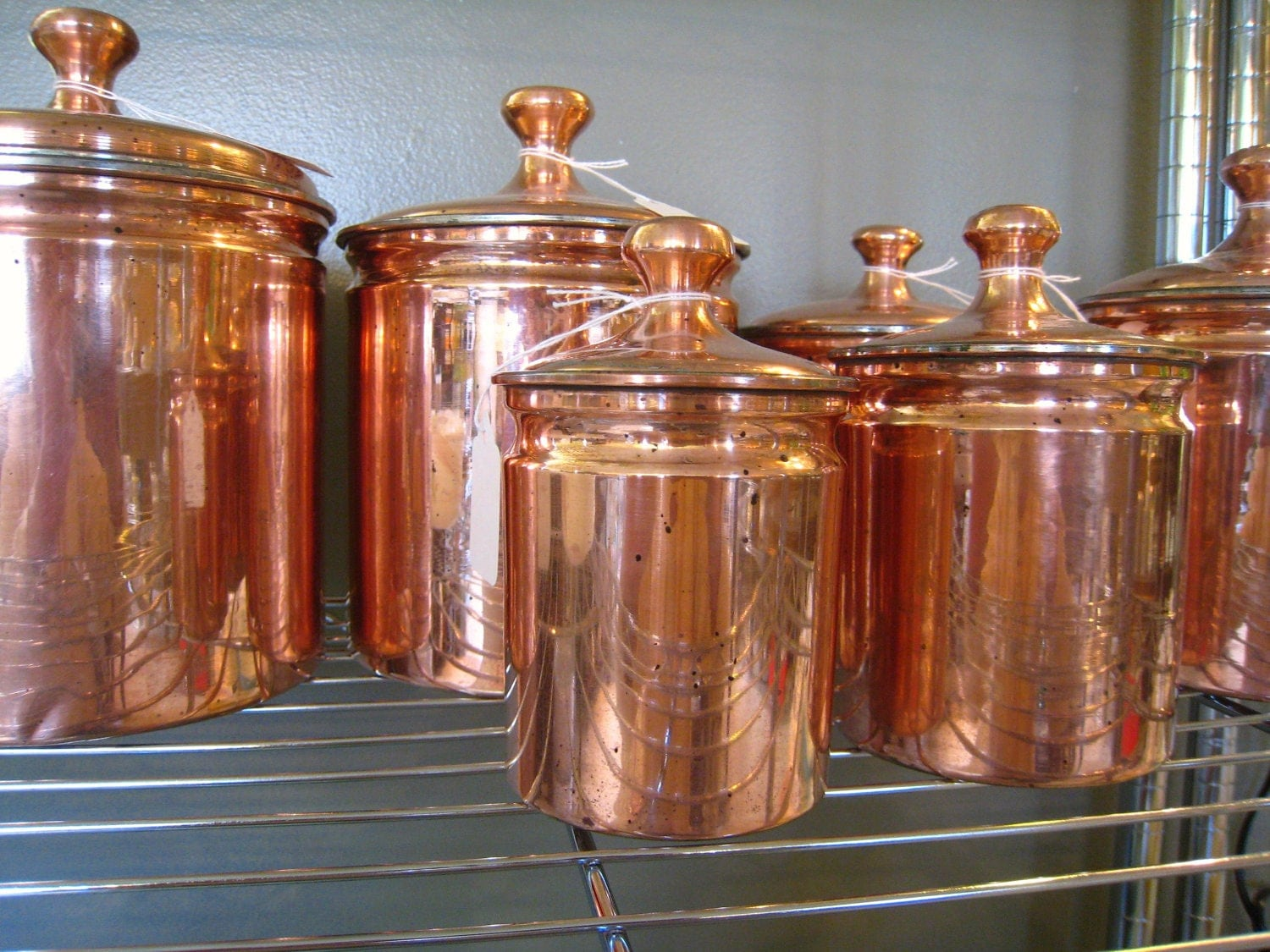vintage kitchen copper canister set of 6 by vintagekitchenshop