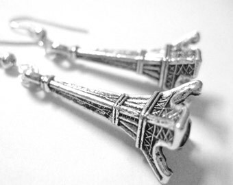 Paris Eiffel Tower Jewelry - Sterling Silver Earrings - Dangle Earings - Wanderlust Jewelry - Earings Dangle Clip On Earrings For Women 054