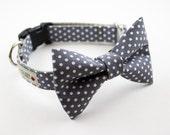 Gray Polka Dot Dog Bowtie Collar