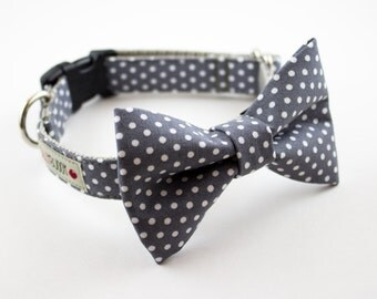 Gray Polka Dot Dog Bowtie Collar