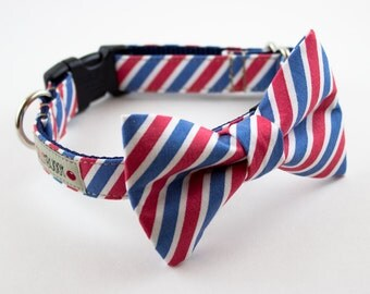 Red White Blue Stripes Dog Bow Tie Collar
