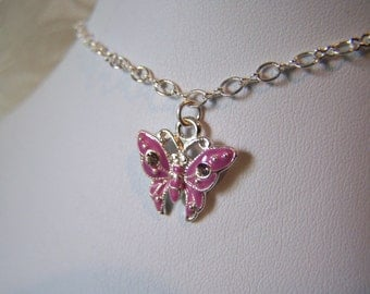 Anklet Enameled Butterfly with Swarovski Crystals Charm Clearance