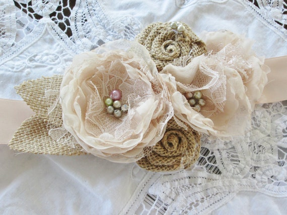 Burlap and lace wedding gown bridal belt champagne blush