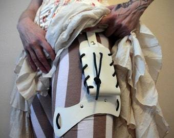 White Handmade Real Leather Holster  - steampunk - burning man - festivals, Please read Description for size