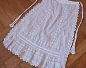 White Cotton Apron Art Nouveau Belle Epoque Eyelet Lace Trim Hand Made Folk Costume 1930's