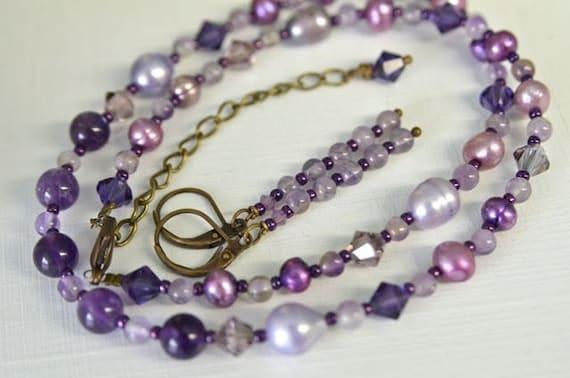 Amethyst Necklace Purple Necklace Amethyst Earrings Gemstone Necklace Ready to Ship Gemstone Earrings Set