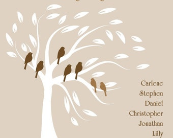 grandparent gift, family tree print, wall art, family gift, mother's day, father's day, family tree with birds, personalized