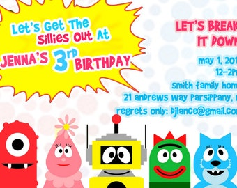 Yo Gabba Gabba birthday invitation, custom digital file, yo gabba gabba birthday party, yo gabba gabba invitations
