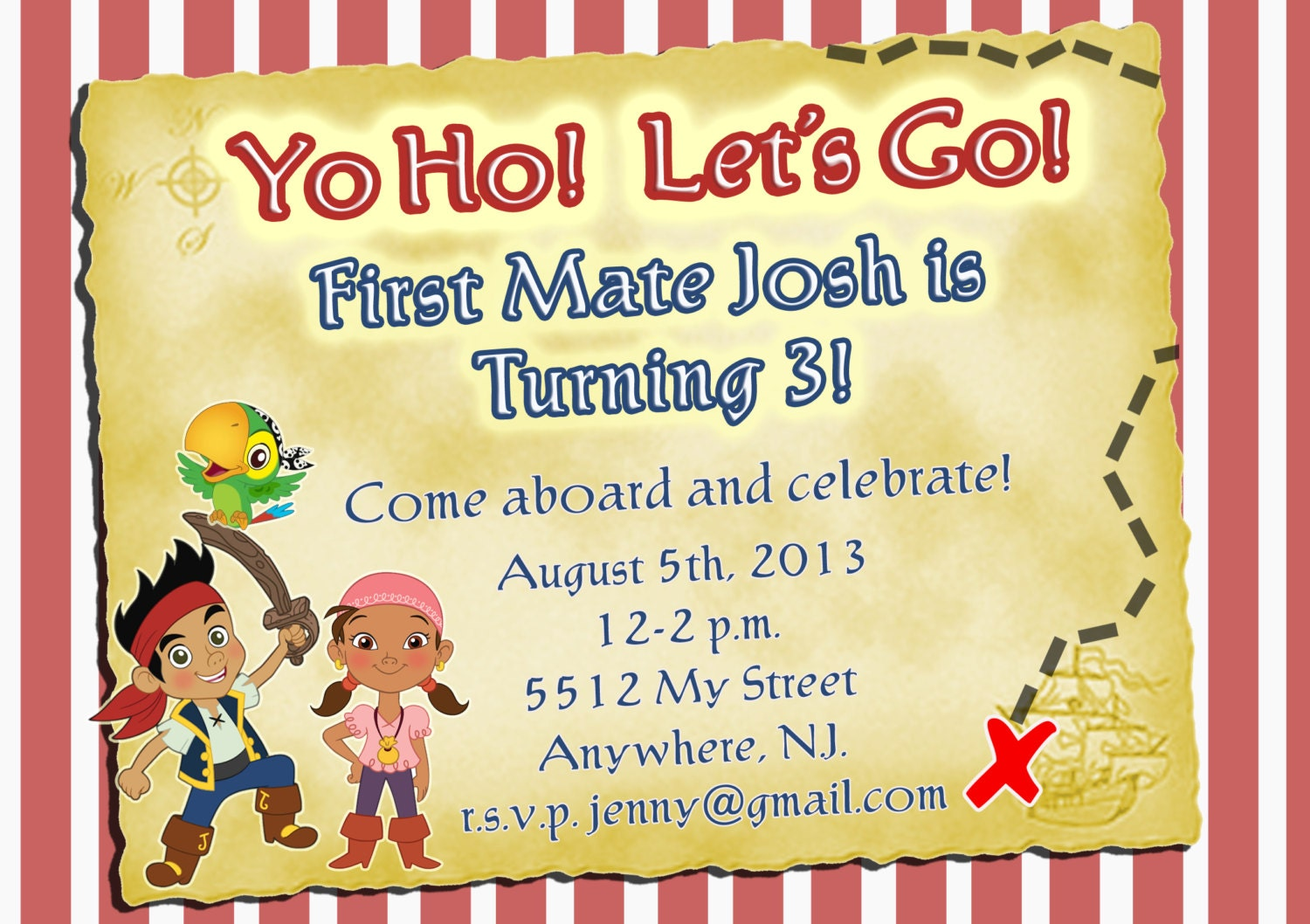 Jake and the Neverland Pirates invitation pirate invitation – Free Pirate Party Invitations
