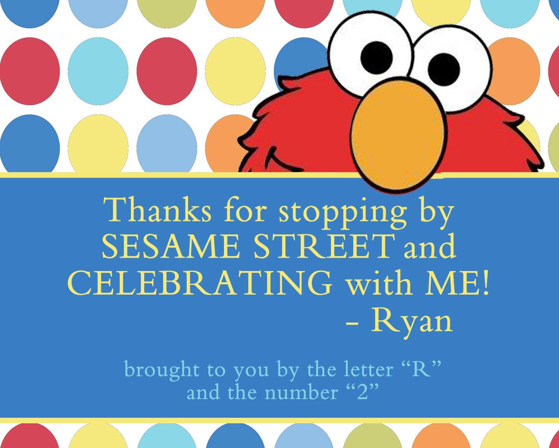 Birthday Tags: Elmo Favor Tags Birthday Favor Tag Elmo Sesame Street Tags
