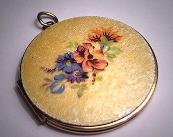Antique Enamel Locket Vintage Art Deco Floral Necklace