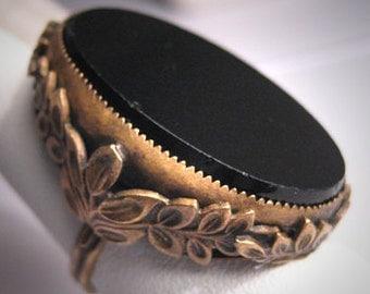 Large Antique Victorian Ring Vintage Floral Setting