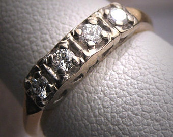 Antique Diamond Wedding Ring Band Vintage Art Deco 1930