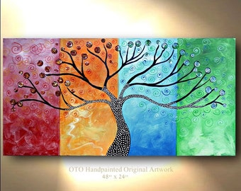 "Made to Order 72""Original Tree of Life Painting Four Seasons Abstract Art 48x24 Modern Contemporary Texture Painting by OTO"