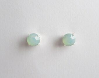 Mint Opal Stud Earrings - Mint Stud Earring- Mint Earrings- Mint Studs, Silver Plated, Swarovski Stud Earrings.