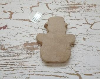 Paper Mache Ornament - Unfinished Paper Mache Snowman - Christmas Ornament