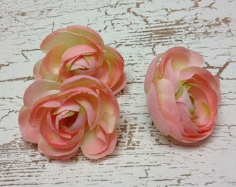 Silk Flowers - THREE Silk Ranunculus Flowers in Peachy Pink - ALMOST 2.5 Inches - Artificial Flowers