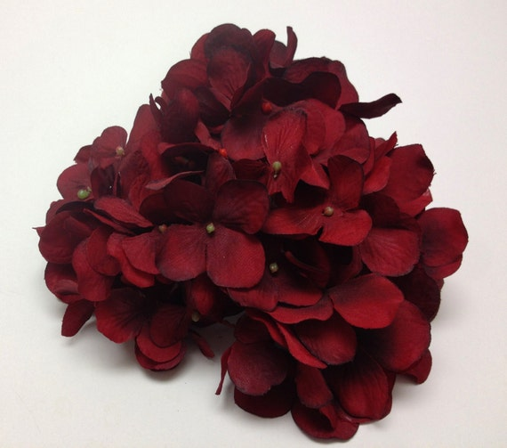 Silk Flowers - One Hydrangea Head in Deep Red - Top Quality Artificial Flowers