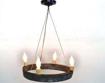 "HALO - ""Atrina"" - Wine Barrel Ring Chandelier - 100% RECYCLED"
