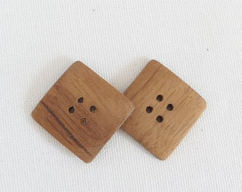 Handmade Buttons Wood Square Buttons Wood Buttons 1 Inch Teak Wood Buttons  Set of 9 Buttons Knitting Sewing Crochet Supplies