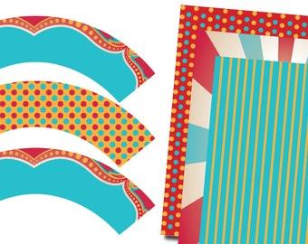 DIY Printable Vintage Carnival Circus Cupcake Wrappers and Coordinating Digital Paper
