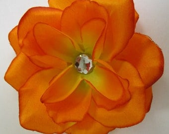 Orange rose flower hair clip PERFECT FOR HEADBAND