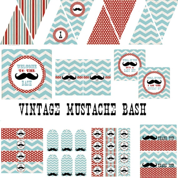 Vintage Mustache Party Decorations Birthday Party by ...