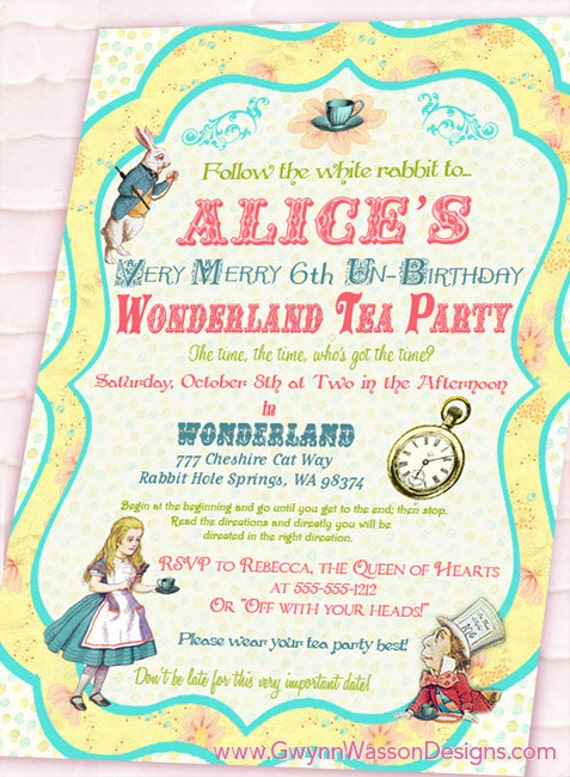 Alice in Wonderland Invitation - Vintage Birthday Tea Party Collection- Shabby Chic - Gwynn Wasson Designs - PRINTABLES