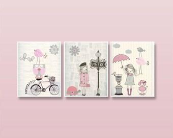 Nursery art Baby room decor Baby girl nursery wall art Paris Metro set of 3 prints Shabby chic Vintage style nursery Light pink gray Bikes