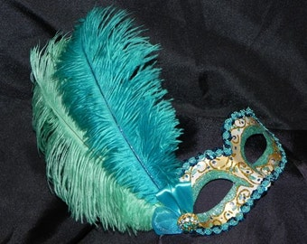 Masquerade Mask in Shades of Teal and Gold