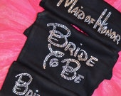 5 bridesmaid proposal rhinestone shirts . Bridesmaid half lace tank tops with bling . Maid of honor, matron of honor, mother of the bride .