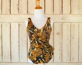 Tropical floral metallic print one piece vintage wrap swimsuit