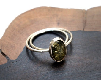 Green Baltic Amber and Sterling Silver Ring, Free Shipping!