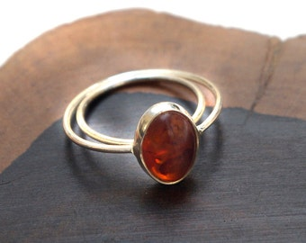 Baltic Amber Oval Ring with Sterling Silver  size 5.5, 6, 6.5, 8.5,9, 9.5