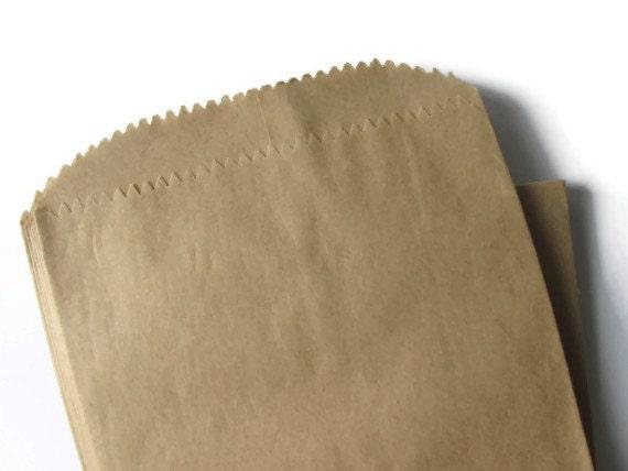 "100 Kraft Brown Paper Bags - Flat 4 1/2 x 6 3/4"" - Small Medium - Plain 4x6 - Scrapbooking Crafting - DIY Flatware Packaging - Treat / Favor"