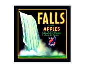 Small Journal - Falls Brand Apples  - Fruit Crate Art Print Cover