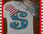 Dr. Seuss Initial Shirt for Girl or Boy - Read Across America Day - You Choose Shirt Color