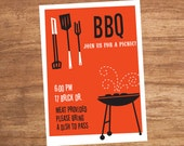 BBQ Picnic Cookout Custom Printable Party Invitation