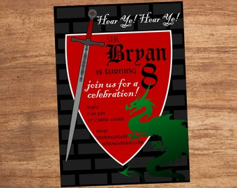 Sword and Dragon Medeival Renaissance Invitation