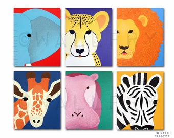 Art for children jungle baby nursery. Safari nursery art. Art for kids wall art. Zoo animal nursery decor, kids decor. SET of ANY 4 prints