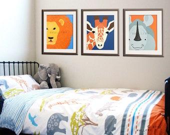 Jungle nursery artwork for children. Kids wall art, zoo animal prints Safari nursery theme. SET OF ANY 3 Safari animal prints.