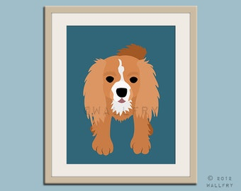 Cavalier King Charles Spaniel print. Dog art for children. Kids decor. Baby nursery art print. Puppy nursery decor. Art print by WallFry