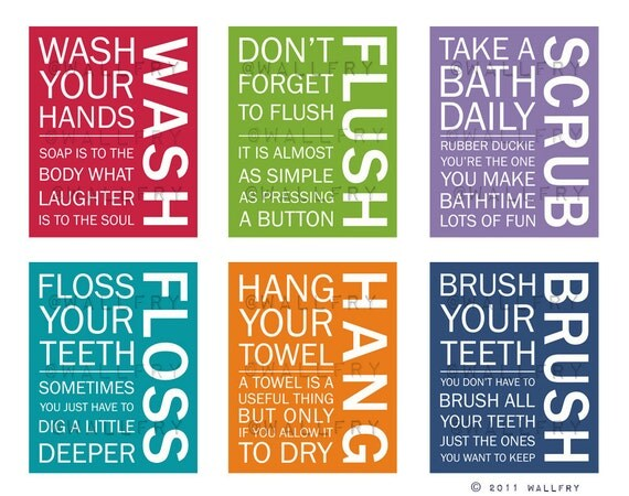 Bathroom Art Prints Bathroom Rules Kids Bathroom Wall Quotes Wash Brush Floss Flush Typography Set Of 4 Art Prints By Wallfry