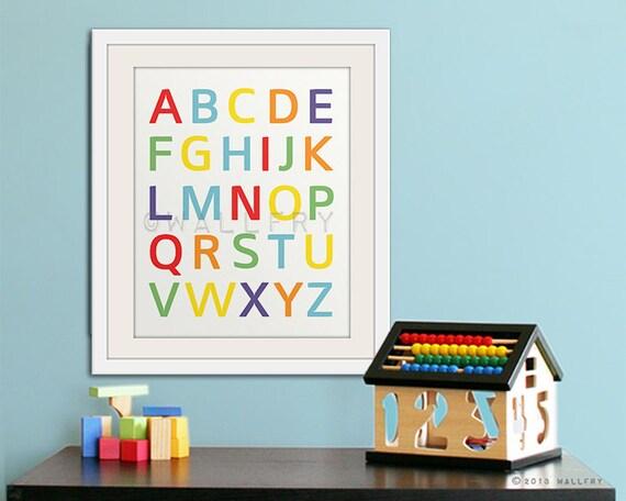 Modern Alphabet Wall Art. Nursery Art ABC Poster. Children Artwork For  Playroom WallFry Alphabet