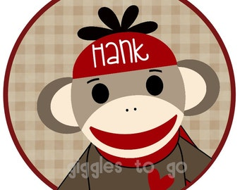 Valentine's Red  Sock Monkey Iron on
