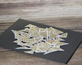 Gold triangle glam stickers, 1980s glam, Valentine sticker seals