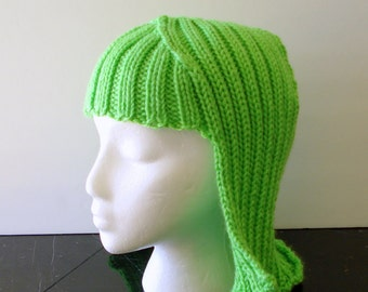 Neon Green Hat Hair Knit Wig Bright Green yarn wig