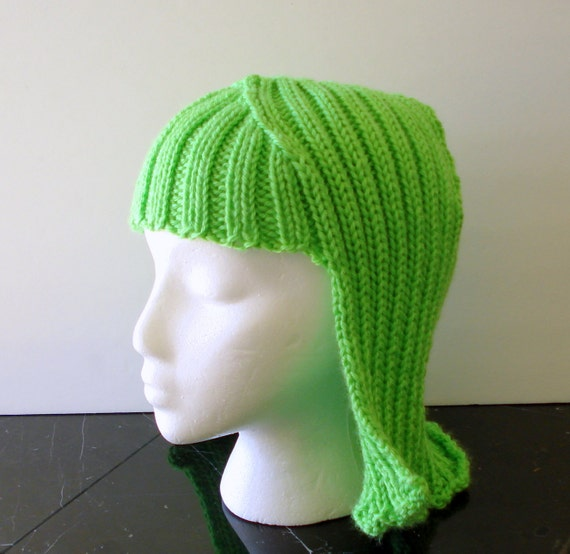 Neon Green Hat Hair Knit Wig Bright Chartreuse