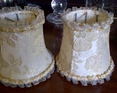 Vintage French chandelier lampshades ivory and gold damask shades